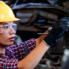 manufacturing worker with engine