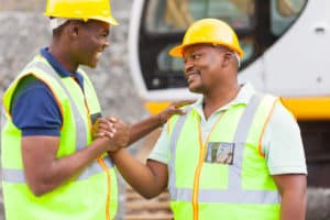 workers chatting